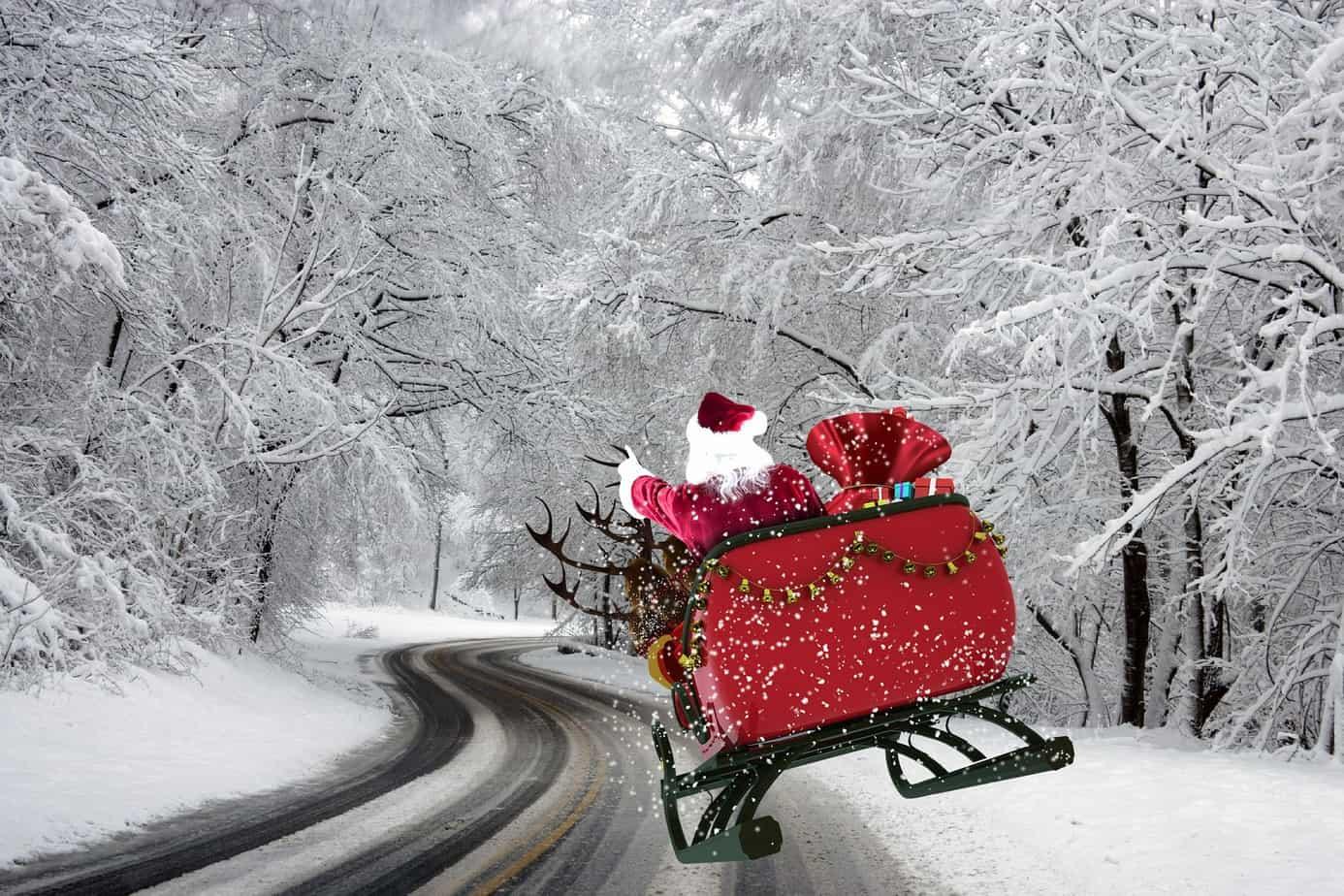Winterlandschaft, Nikolaus, Schlitten, Schnee, Frohe Weihnachten, Marry Christmas